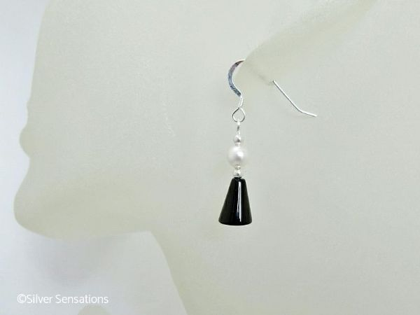 Black Onyx & White Swarovski Pearl Sterling Silver Drop Earrings | Silver Sensations